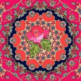 Festive card with cute pink rose on ornamental background. Seamless patchwork pattern in russian style. Vector illustration Royalty Free Stock Images
