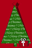 Festive card design with christmas tree and gift. On red background Royalty Free Stock Photo