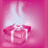 Festive card with gift box. Bright festive card with gift box and decorations on pink background for life events Royalty Free Stock Photos