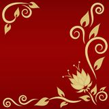 Festive card with golden floral element Royalty Free Stock Image