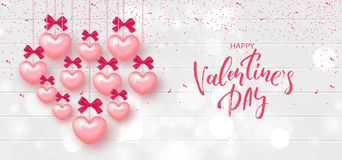 Festive Card for Happy Valentine`s Day. Background with Realistic Hearts and confetti on Wooden Texture. Vector Illustration. Festive Card for Happy Valentine`s Royalty Free Stock Image