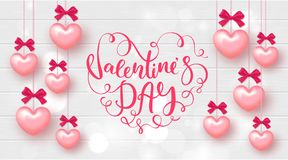 Festive Card for Happy Valentine`s Day. Background with Realistic Hearts and beautiful Lettering on Wooden Texture. Vector Illust. Ration Stock Image