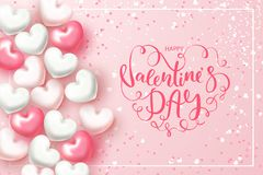 Festive Card for Happy Valentine`s Day. Background with Realistic Hearts, confetti and beautiful Lettering . Vector. Illustration Royalty Free Stock Image