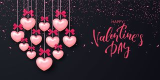Festive Card for Happy Valentine`s Day. Background with Realistic Hearts and confetti . Vector Illustration. Festive Card for Happy Valentine`s Day. Background Royalty Free Stock Photo