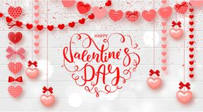 Festive Card for Happy Valentines Day. Background with Hearts and beautiful Lettering on Wooden Texture. Vector Illustration. Stock Photo