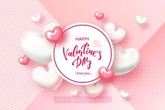 Festive Card for Happy Valentines Day. Background with Realistic Hearts, confetti . Vector Illustration. Festive Card for Happy Valentine s Day. Background with Royalty Free Stock Photography