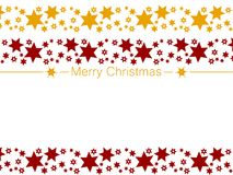 Festive card. Merry Christmas decoration with stars. Merry Christmas decoration with red and golden stars. Clean design for Christmas prints. Festive card Stock Photos