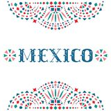 Festive card with Mexico word and Mexican traditional embroidery motif. Bright background with fiesta style folk art pattern. Western shapes of text. Colorful vector illustration