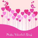 Festive card with pink heart air balls on Valentine's day. February 14 - day for all lovers. Festive card with pink heart air balloons on Valentine's day Stock Photo