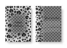 Festive card with pumpkins for Halloween. Layout design of leaflets with falling black pumpkins for festive decoration for Halloween Stock Photo