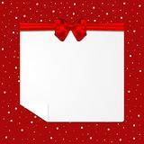 Festive card with red bow and snow. Vector illustration royalty free illustration