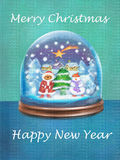 Festive card with snow globe and wishes of Merry Christmas and Happy New Year. Snow glass ball with christmas trees, snowman, star, shining from heaven on Stock Images