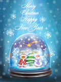 Festive card with snow globe and wishes of Merry Christmas and Happy New Year. Snow glass ball with christmas trees, snowman, star, shining from heaven on Stock Image