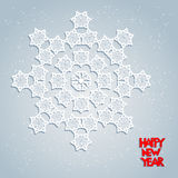 Festive card with snowflakes. Big holiday snowflake. Design for card, banner, invitation, leaflet and so on Stock Images