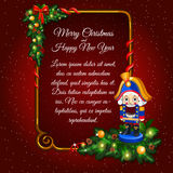 Festive card with soldier and frame for text. Postcard happy New Year and merry Christmas with soldier toy and vertical frame for text on a red background Stock Photos
