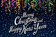 Festive card with sparkle calligraphic lettering Merry Christmas and Happy New Year on black background with decoration on colorfu. Ll confetti.. Vector Stock Photography
