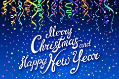 Festive card with sparkle calligraphic lettering Merry Christmas and Happy New Year on blue background with decoration on colorful. L confetti.. Vector Royalty Free Stock Photo