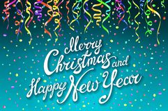 Festive card with sparkle calligraphic lettering Merry Christmas and Happy New Year on blue background with decoration on colorful. L confetti.. Vector Royalty Free Stock Images