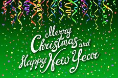 Festive card with sparkle calligraphic lettering Merry Christmas and Happy New Year on green background with decoration on colorfu. Ll confetti.. Vector Royalty Free Stock Photos