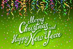 Festive card with sparkle calligraphic lettering Merry Christmas and Happy New Year on green background with decoration on colorfu. Ll confetti.. Vector Royalty Free Stock Photography