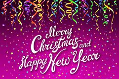 Festive card with sparkle calligraphic lettering Merry Christmas and Happy New Year on pink background with decoration on colorful. L confetti.. Vector stock illustration