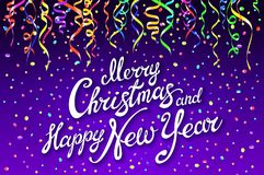Festive card with sparkle calligraphic lettering Merry Christmas and Happy New Year on violet background with decoration on colorf. Ull confetti.. Vector stock illustration