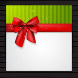 Festive card template. With red ribbon and bow, vector square banner template Stock Photo
