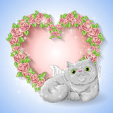 Festive card for a wedding or a birthday wreath of roses. Festive card for a wedding or a birthday wreath of roses,  a cat-angel. Vector illustration Stock Image