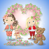 Festive card for a wedding or a birthday wreath of roses. Festive card for a wedding or a birthday wreath of roses, a girl, a teddy bear, a toy rabbit. Vector Stock Photo