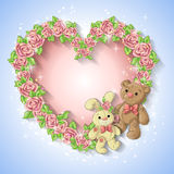 Festive card for a wedding or a birthday wreath of roses. Festive card for a wedding or a birthday wreath of roses, a teddy bear, a toy rabbit. Vector Royalty Free Stock Photography