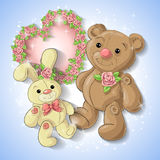 Festive card for a wedding or a birthday wreath of roses. Festive card for a wedding or a birthday wreath of roses, a teddy bear, a toy rabbit. Vector Royalty Free Stock Image