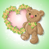 Festive card for a wedding or a birthday wreath of roses. Festive card for a wedding or a birthday wreath of roses, a teddy bear. Vector illustration Stock Image