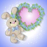 Festive card for a wedding or a birthday wreath of roses. Festive card for a wedding or a birthday wreath of roses, a toy rabbit. Vector illustration Stock Photography