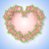 Festive card for a wedding or a birthday wreath of roses. Vector illustration Royalty Free Stock Photo