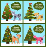 Festive Cards on Green Merry wish Puppy Tree Set. Festive cards on green background, merry wishes Happy New Year from dotted puppies under Christmas trees set Stock Photography
