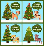 Festive Cards on Green Merry wish Puppy Tree Set. Festive cards on green background, merry wishes Happy New Year from dotted puppies under Christmas trees set Stock Image