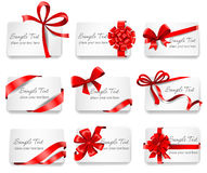 Festive cards with red gift ribbons. Set of beautiful cards with red gift bows with ribbons. Vector illustration Royalty Free Stock Images