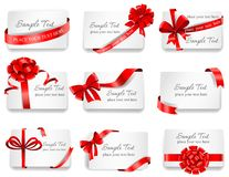 Festive cards with red gift ribbons. Set of beautiful cards with red gift bows with ribbons. Vector illustration Stock Photography