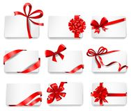 Festive cards with red gift ribbons Royalty Free Stock Photography