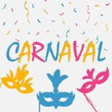 Festive carnaval background with carnival mask and color confetti. Brazil holiday banner. Vector. Festive carnaval background with carnival mask and color Royalty Free Stock Images