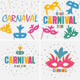 Festive carnaval background set. Brazil holiday banner with carnival mask and color confetti. Vector. Festive carnaval background set. Brazil holiday banner Stock Images