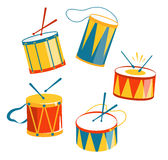 Festive Carnival Drums Isolated on White Stock Photography