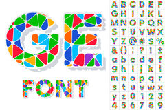 Festive Carnival Font. Multicolored Vector Alphabet. Bold Style Stock Images