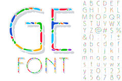 Festive Carnival Font. Multicolored Vector Alphabet. Style Thin Royalty Free Stock Images
