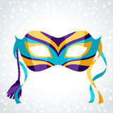 Festive carnival mask on background of confetti.  Stock Photography