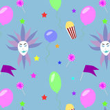 Festive Carnival Pattern. With masquerade masks colorful balloons stars flags candies and popcorn buckets vector illustration Royalty Free Stock Image
