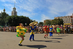 Festive Carnival procession. Slavyansk, Ukraine - September 4, 2010. Town's Central Square. The festive carnival procession on the occasion of the day of the Royalty Free Stock Photo