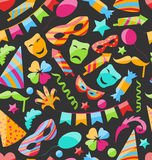 Festive Carnival Seamless Wallpaper. Illustration Festive Carnival Seamless Wallpaper with Colorful Objects - Vector Stock Images