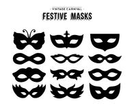 Festive carnival silhouettes mask set. Set of festive vintage carnival masks silhouettes  over white. EPS10 vector Stock Image