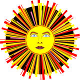 Festive, Carnival Sun With Multi-Colored Rays. Festive, carnival sun with light blue eyes and multi-colored rays of red, yellow, orange and pink on a circular Royalty Free Stock Images